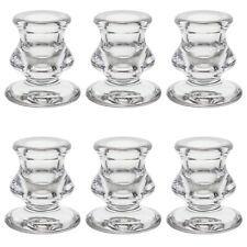 "Mega Candles - 2.25"" Taper Glass Candle Holder - Clear, 6PCS"