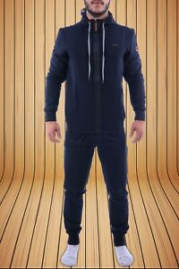 HUGO BOSS TRACKSUIT FOR MEN XL BLUE (NAVY) COLOR BRAND NEW FULL ZIP HOODIE ON