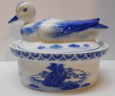 Casserole Dish Serving Dish Large Duck Lid Island House Blue and White Porcelain