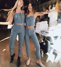 brandy melville blue/white striped bow tie tank/tilden pants 2 piece set NWT S/M