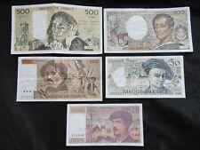 Lot de 5 billets Avant dernière Gamme : 20 / 50 / 100 / 200 / 500 Francs Pascal