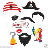 10 Pirate Photo Booth Props Birthday Party Eyepatch Parrot Hook Beard Moustache
