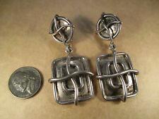 Heavy Sterling Silver Clip Earrings, Brenda Schoenfeld, Mexico, 39.3g