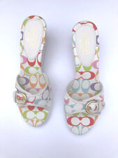 NWT Coach white + multicolor logo buckle PERRY mules wedge slides sandals 10B