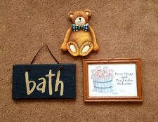 3 BATH ITEMS FRAMED GLASS BEARS IN A TUB  / WOOD BATH SIGN /  BEAR SOAP DISH!!!