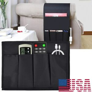 Sofa Armrest Organizer 4 Ports TV Remote Control Holder Chair Beside Couch Bag