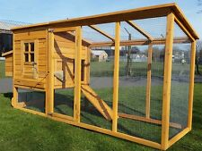 Large 8ft Chicken Coop Hen Poultry Ark House Hutch Run Nest 4000