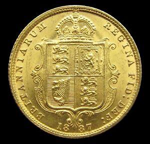 VICTORIA 1887 JUBILEE HEAD GOLD HALF SOVEREIGN - GEF
