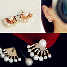 Women Elegant Ear Stud Pearl Rhinestone Earrings Crystal