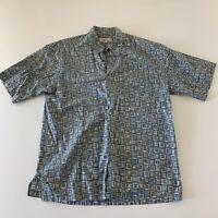 Tori Richard Hawaii Men's Short Sleeve Button Front Aloha Shirt Blue Size Large