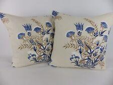 Indigo Blue Cream Linen fabric Scatter Pillow Cushion Covers Modern Navy Flowers