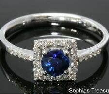 Cluster Natural Sapphire White Gold Fine Rings