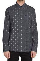 Volcom Mens Shirt Gray Size XL Bonga Striped Modern Fit L/S Button Down $65 529