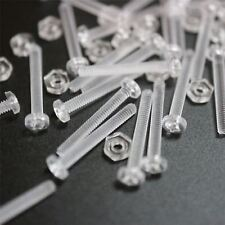 Paquete de 50 tornillos y tuercas transparentes, de plástico acrílico. M2 x 16mm