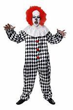 Mens Evil Clown Costume Adult Circus Hell Halloween Fancy Dress Jumpsuit & Wig