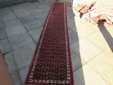 Vintage Traditional Hand Made Oriental Red Pink Wool Very Long Runner 490x82cm
