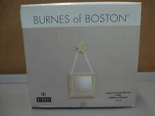 "NIB Burnes Of Boston Ivory Accent Mirror w/ Hanging Ribbon 5""x 5"" w/ Rose #105C"