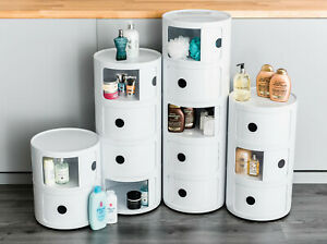 WHITE BATHROOM CABINET TOILET PAPER ROLL HOLDER TOILETRY STORAGE CUPBOARD STAND