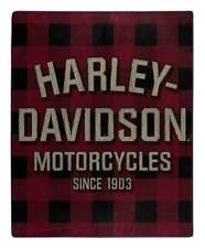 Harley-Davidson Erode Buffalo Plaid Raschel Throw Blanket, 50 x 60 inch NW117348