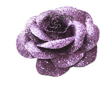 Sparkle city- gorgeous purple glitter rose & easy pin back metal brooch(ZX270)