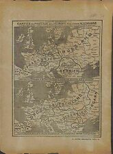 Map Carte Partage Europe Allemagne Germany Deutschland Austria Hungary  1917 WWI
