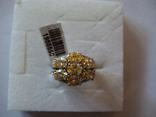 Yellow diamond simulated platinum bond brass ring size 8 4129