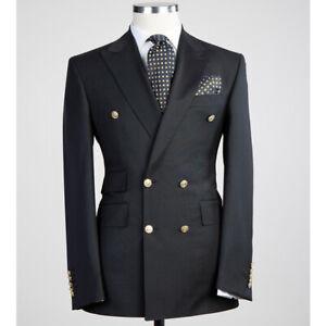 Black Men's Suit Double Breasted Peak Lapel Groom Tuxedo Business Work Prom