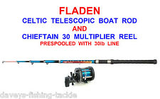 2 Okuma 7ft Boat Rods Fladen Chieftain 30 Multiplier Reels 30lb Line Sea Fishing