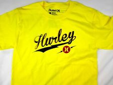 Hurley surf premium fit yellow short sleeve tee shirt men's size SMALL