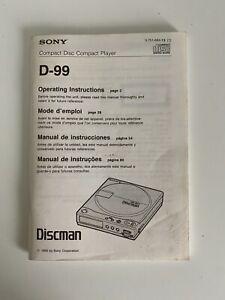 Sony Discman D-99 Operating Instructions - User Manual - VGC - Free P&P