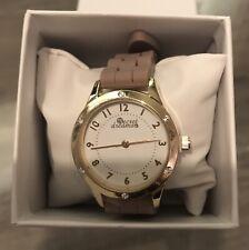 New wrist watch gold colour brown strap 6 little swarovski crystals