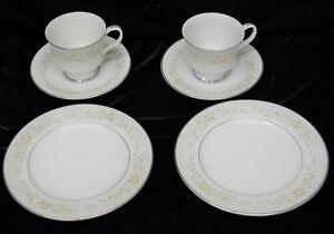 Sango China Debutante 3688 2-Salad Plates 2- Cups & Saucers  Platinum Trim Nice!