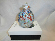 CAITHNESS GLASS HAND CRAFTED MODERN MULTI COLOUR ART GLASS AND STOPPER BOXED