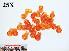 25X Lego® 4589 / 64288 runde Kegelsteine Cone 1X1 transp. Orange NEU