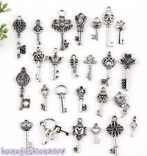 50Pcs Tibetan Silver Mixed Key Style Charms Pendants 3A