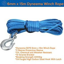 6mm X 15m Dyneema SK75 Marine Hand Winch Rope Boat Car Tow Recovery Blue