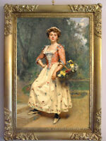 "Old Master-Art Antique Oil Painting art Noblewoman flower girl on canvas 24""X36"""
