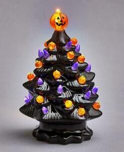 "7.5""H BLACK Glazed Ceramic Retro Halloween B/O Tree w/ Multi-Color Bulbs #70444"