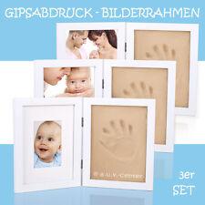 3x Bilderrahmen Gipsabdruck Baby Fuß Hand Bauch Fotorahmen Taufe Abdruck Set