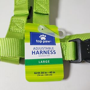 Top Paw Adjustable Gunmetal & Lime Step-in Harness Sz Large