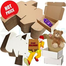 More details for white or brown shipping cardboard boxes postal mailing gift packet small parcel
