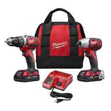 M18 Cordless Compact Drill Impact Driver Combo Tool Kit w/ 2 18 Volt Lithium Ion