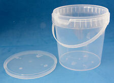 10 x 1180ml Clear Plastic Round Tamper Proof Tubs with Lids & Handles