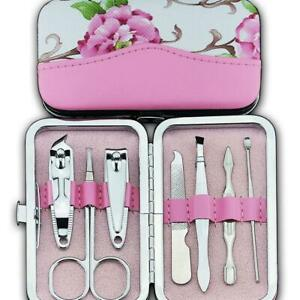 New 7pcs Cute Flower Nail Clippers Set Stainless Manicure Set Kit Case Gift