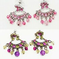 MAX K 1.5 in PINK - PURPLE CRYSTAL CHANDELIER SILVER BRONZE CUSHION EARRINGS NEW