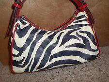 Dooney & Bourke Leather Zebra Print Shoulder Bag Satchel Red Black Ivory GUC