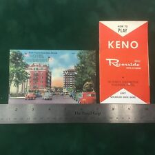 Riverside Reno Nevada postcard and how to play keno brochure