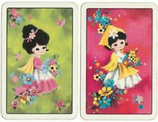 vintage Playing cards swap card single young ladies retro flower power girls