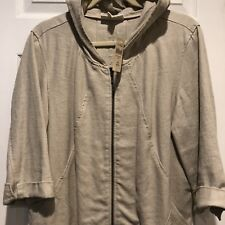 ColdWater Creek Linen Blend Zip Front Hooded Jacket w/ Pockets Natural SZ L NWT