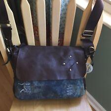 GIOVANNI RUCCI Slouchy Denim Messenger Shoulder Bag With Brown Pleather Trim.